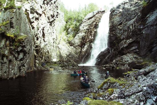 "Visit the beautiful waterfall, ""Brudsloret"", by canoe, SUP, hiking or zipline and climbing"