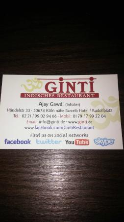 Ginti Indisches Restaurant Cologne: Ginti contact