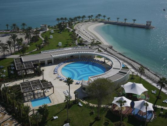 View from the hotel of the pools and beach