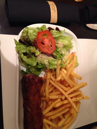 Cosmos : Andouillette sausage. If you are not use to strong tasting food, do not order this