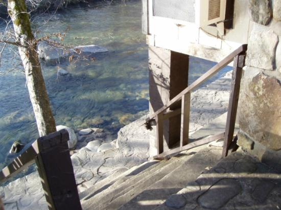 Looking down into river below from bed room in River Song - Picture ...