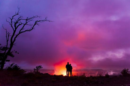 Witness the glow from the volcanic craters at Hawaii Volcanoes National Park on Hawaii Island.