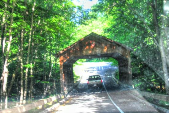 Pierce Stocking Scenic Drive: A covered bridge