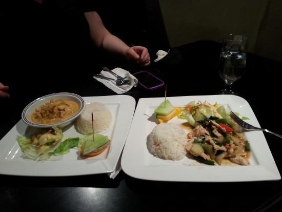 Thai House Cuisine - OPEN : basil chicken on right