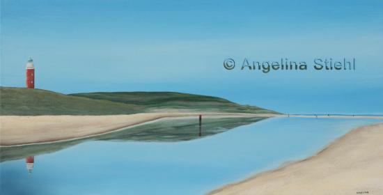 De Waal, Ολλανδία: TEXELKUNST Angelina Stiehl - Schilderij Vuurtoren Texel en Paal 33 strand weerspiegeling
