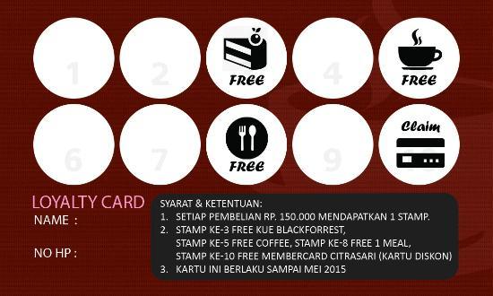 Citra Sari Resto Cake Loyalty Card For Minimum Rp 150 000
