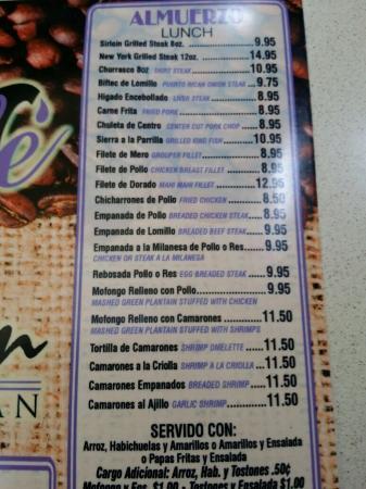 San Juan Cafe Lunch Menu