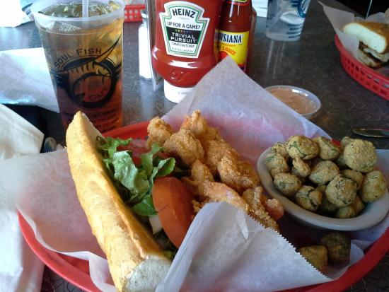 Shrimp po boy and fried okra picture of soul fish cafe for Soul fish memphis