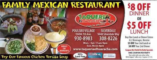 Taqueria El Huarache: Valentines Coupons