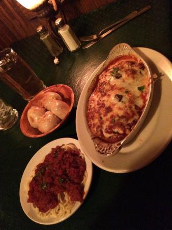 Venditori S Italian Restaurant Eggplant Parmigiana With Spaghetti Delicious