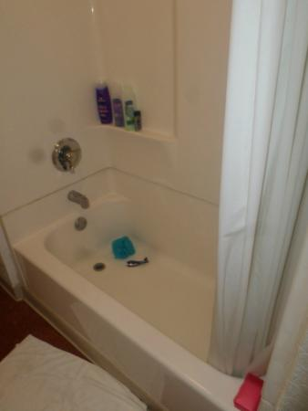 tub had mold on the cieling above it and there were no,,rubber mats ...