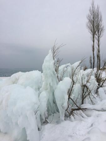 The Hotel Frankfort : Lake Michigan Natures Winter Ice Sculpture