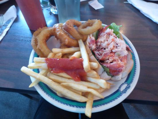 New England Eatery & Pub: My Meal-Lobster Roll, French Fries, Jumbo Onion Rings