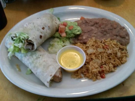 Lupe Tortilla's: Chicken fajita wrap with beans and rice.