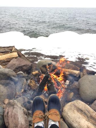 Grand Superior Lodge : Winter bonfires on the beach!