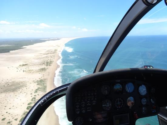 Skyline Aviation Group View Of Stockton Beach Sand Dunes From Inside Helicopter
