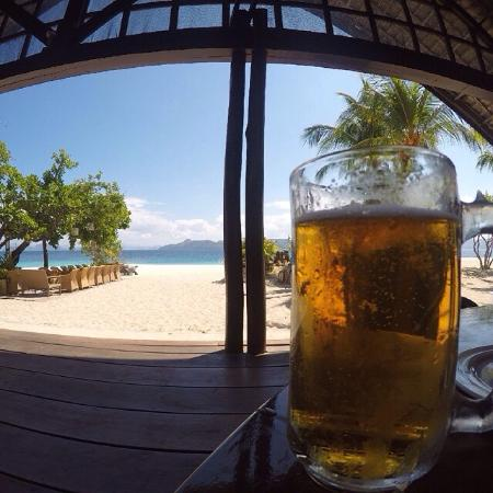 Enjoying a beer and a beautiful view at Club Paradise Palawan