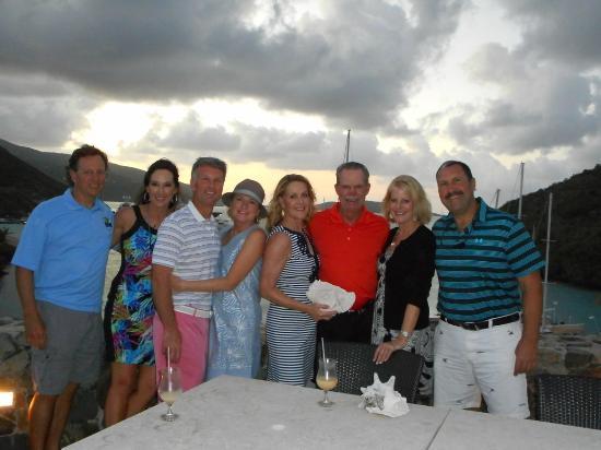 Biras Creek Resort: Our group enjoying the sunset and drinks before dinner