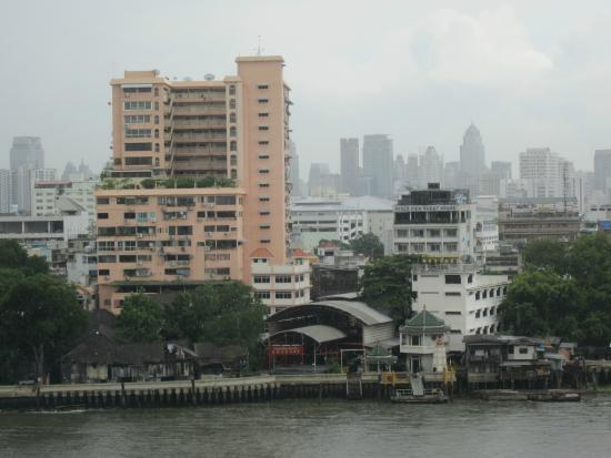 River View Guest House from west bank of Chao Phraya River