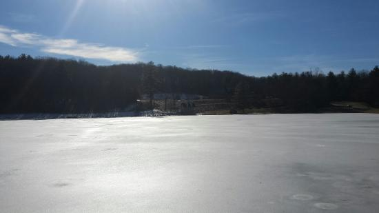 The Resort at Glade Springs: Large lake at the entrance frozen solid.