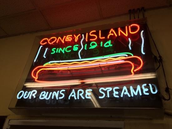 Coney Island: Cool neon sign at rear of restaurant.