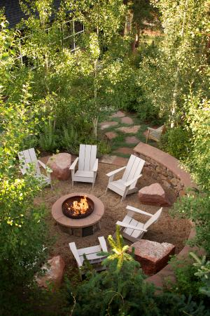 Outdoor fire circle at The Outlook Lodge
