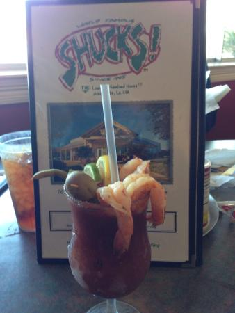 Shucks The Louisiana Seafood: Shrimply Delicious Bloody Mary. Wonderful twist to a Bloody Mary. Shucks is a great Cajun Seafoo