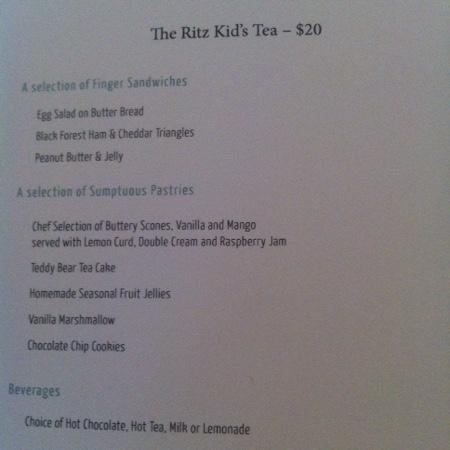 Silver Palm: kids tea menu
