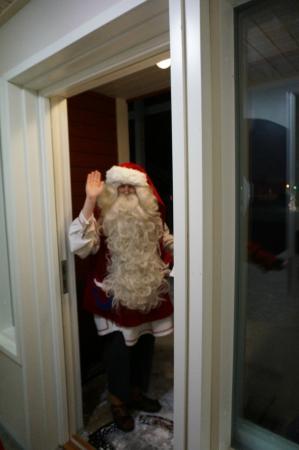 Santa Claus Village: Santa visiting our cabin