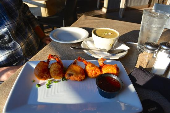 Gruene River Grill: Shrimp wontons and Jalapeño Crawfish Chowder...these were our favorites of all!!