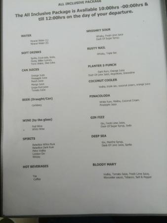 Biyadhoo Island Resort: AI bar menu