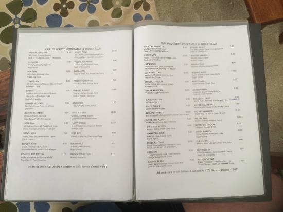 Biyadhoo Island Resort: bar menu