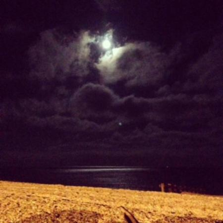 The Moorings: Beautiful beach and moon view, even in the winter