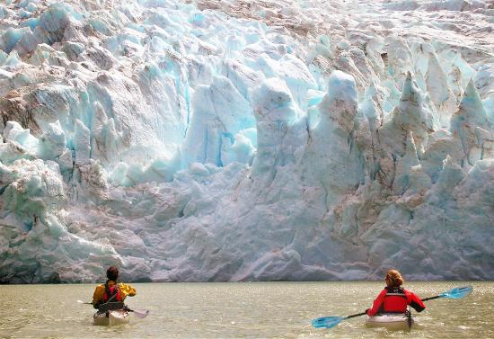 The Southern Terrain - Day Tours: Kayaking in front of Glacier Grey