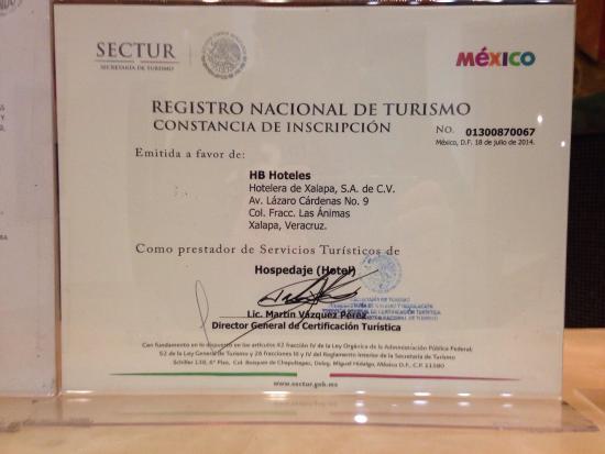 HB Hoteles Xalapa: Registro Nacional de Turismo SECTUR