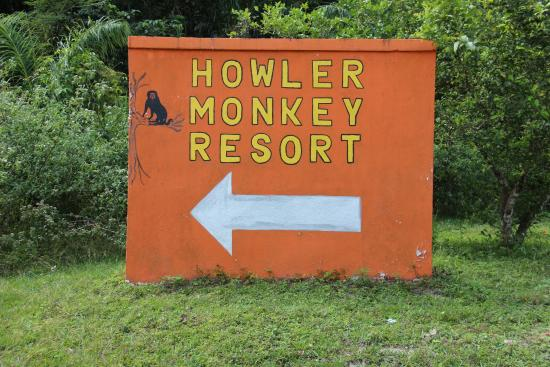 Howler Monkey Resort: sign to the resort