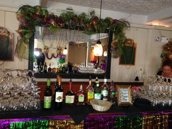 The Riverboat Landing: decorated upstairs bar area
