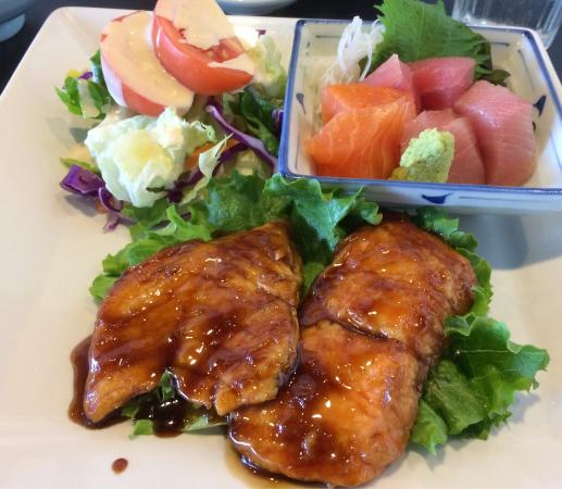 Mister Sushi: Salmon teriyaki and sashimi lunch