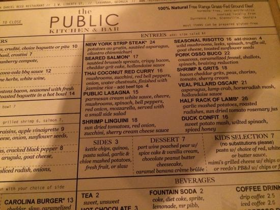 Dinner menu - Picture of The Public Kitchen & Bar, Savannah ...