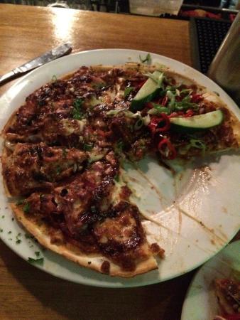 Zacharys Gourmet Pizza: Half roasted duck half bbq meat lover pizza!
