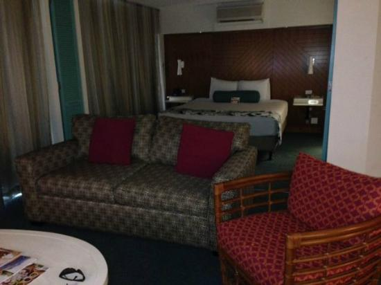 Aqua Oasis: living room to bedroom area