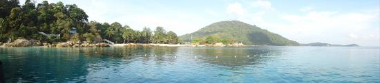 View from middle of bay back toward resort