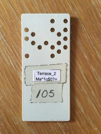 Terrace Hotel: highlight of the night - the braille inspired room key!