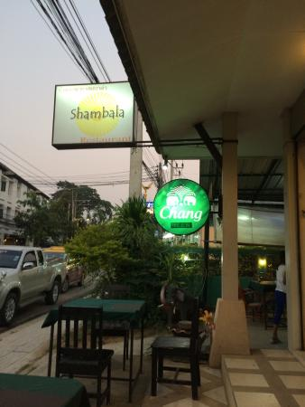 Shambala Restaurant: Sign at entrance. There is less than 10 tables in this place