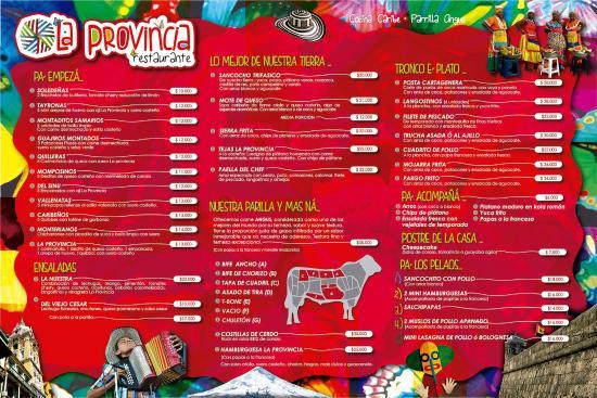 Cota, Colombia: buen menu, muchos platos de la region Caribe