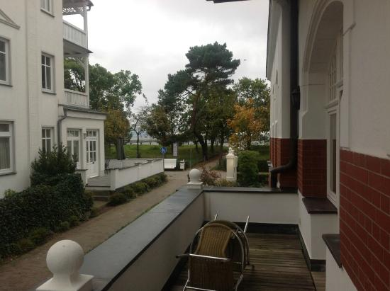 Hotel Imperial: The balcony with a view of the sea through the tree line