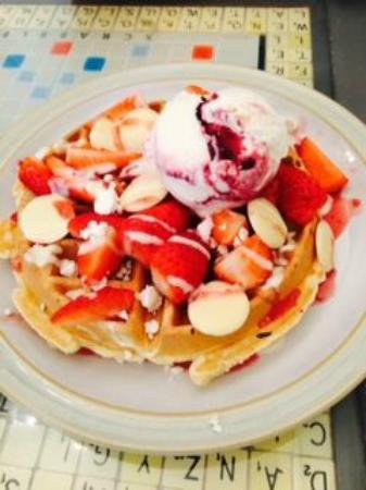 Sundae's Child: Eton Mess Waffle with White Chocolate buttons and fresh Strawberries