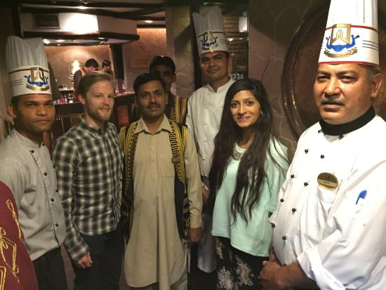 Peshawri: Michael and I with Ratan, chef Hayat and the rest of the team