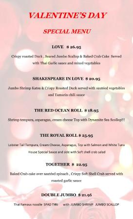 Land & Sea Thai Fusion : Valentine Special menu