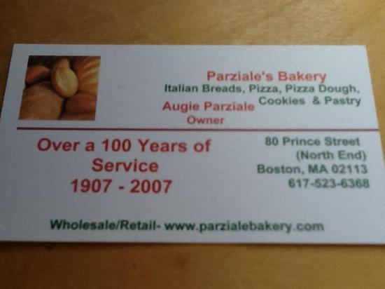 Parziale's Bakery Incorporated: their card.